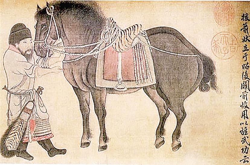 ▲ 金代趙霖《昭陵六駿圖卷》中描繪的「颯露紫」,丘行恭(左)正為其拔箭,北京故宮博物院藏。(公有領域)