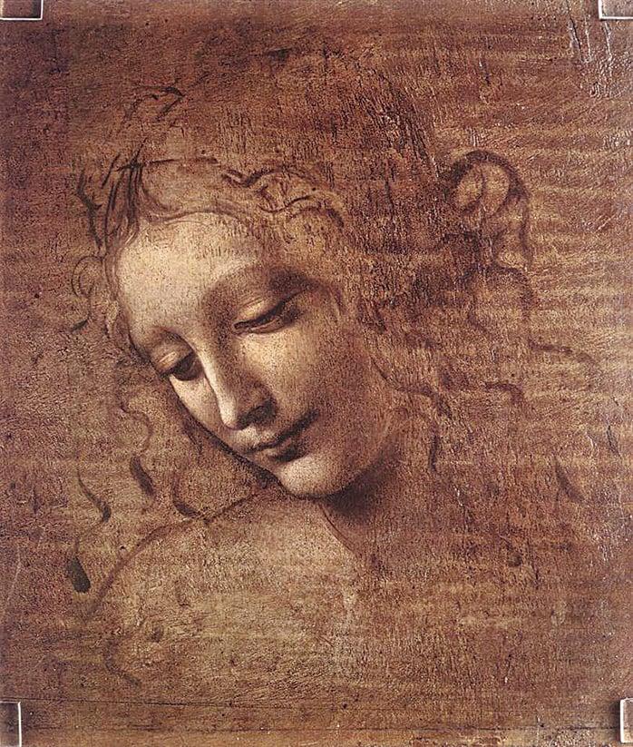 達‧文西的未完成作品《頭髮散亂的女子頭像》(Jeune fille decoiffee ),24.7×21釐米,作於1508年。在棕褐色的透明底層上,畫家把不透明的鉛白塗在畫像的亮部,並通過調整鉛白的厚薄、利用對下層顏色不同程度的覆蓋得到不同色階的淺色,用來塑造形體。這種技法叫作「提白」。假如畫家繼續深入作畫,等這一層畫完並乾燥後,用樹脂油調合有較高透明度的色料很薄地畫在已有的提白色層上,透過薄薄的透明色能讓人看到下層,就叫作「罩染」。(維基百科)