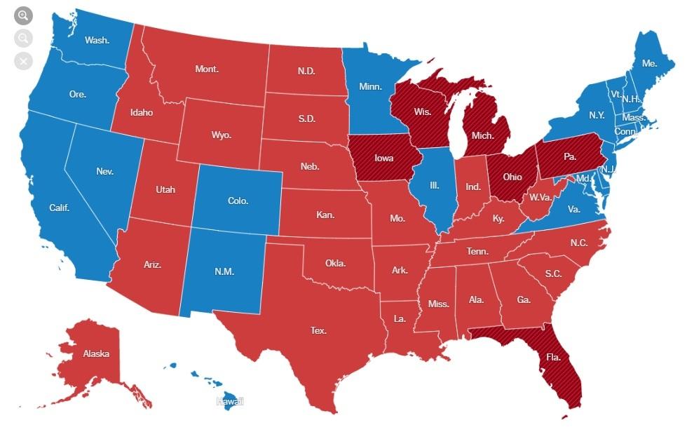 美國大選在19日舉行選舉人團投票,特朗普獲得至少304張選舉人票,超過當選總統所需的270張票,正式成為第45任美國總統。圖:美國選舉人票形勢圖(網絡擷圖)