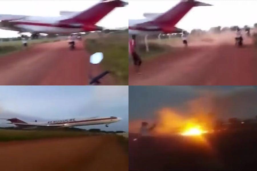 哥倫比亞一架載有6人的波音727型貨機起飛不久即墜毀在機場附近,造成5人死亡,1人重傷。(視像擷圖)