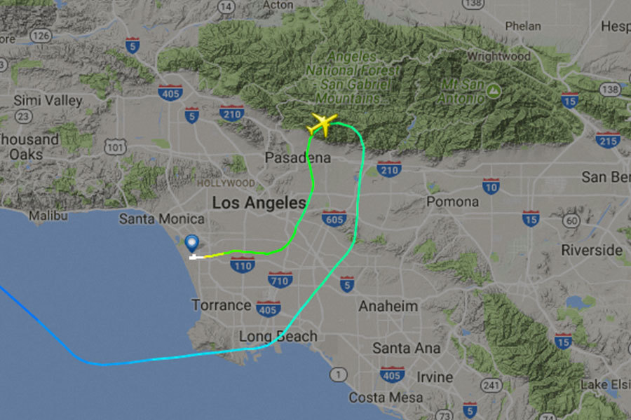長榮航空16日洛杉磯飛台北班機疑因空管錯誤導引,空中驚魂差點撞山。(flightradar24.com)
