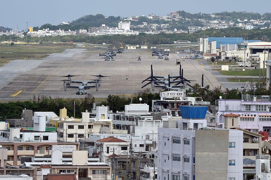 美國歸還日本近萬英畝沖繩島土地。圖為美軍沖繩島普天間(Futenma)基地。(TORU YAMANAKA/AFP/Getty Images)