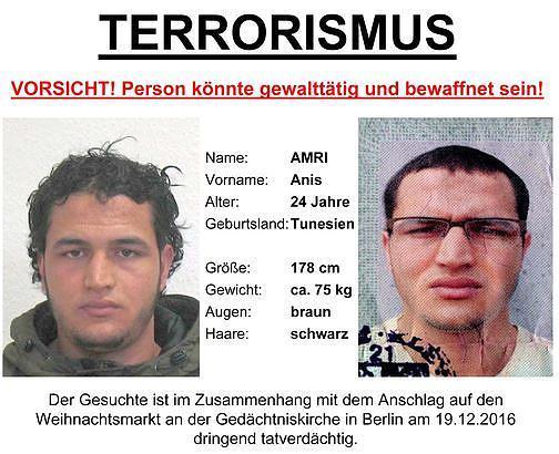 德國警方正在通緝這位24歲的突尼西亞難民。柏林聖誕市場恐襲案中,貨車駕駛艙內發現了這個人的證件。(德國刑偵局)