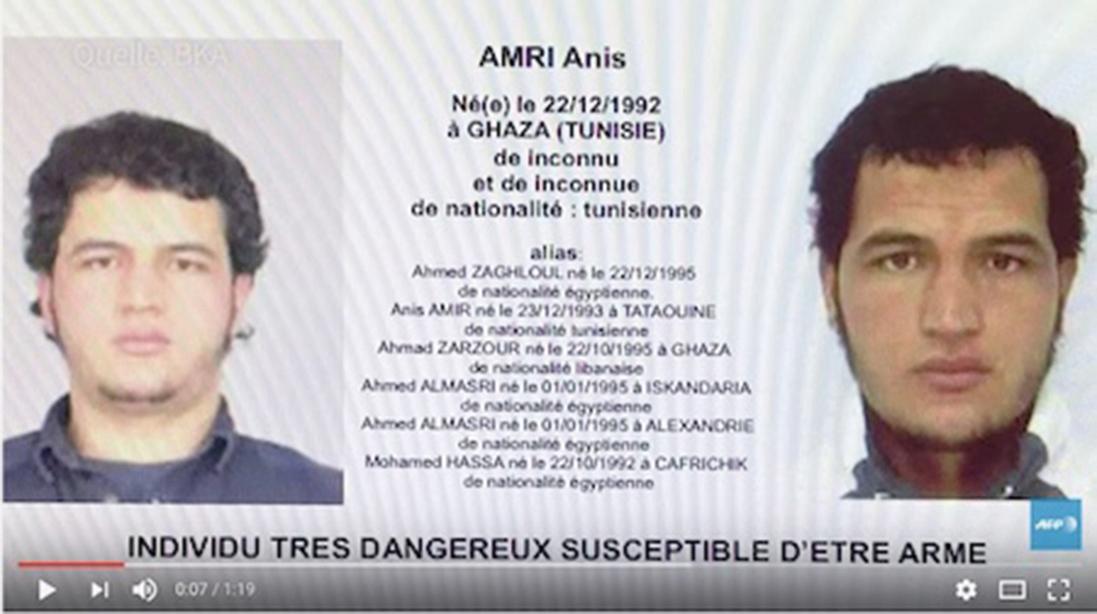 當局對柏林恐襲嫌犯阿姆里(Anis Amri)發佈了歐洲通緝令。(youtube視頻截圖)