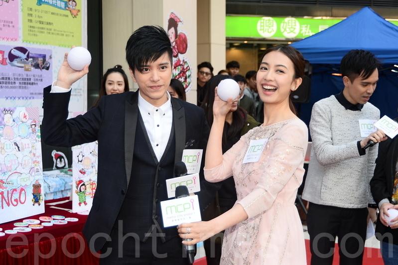 朱千雪和張彥博昨日出席聖誕節活動。(宋祥龍/大紀元)