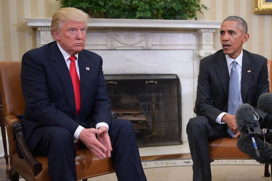美國候任總統特朗普在去年12月28日上午推文表示,以為奧巴馬總統會和他平穩過渡,但事實不然。(JIM WATSON/AFP/Getty Images)