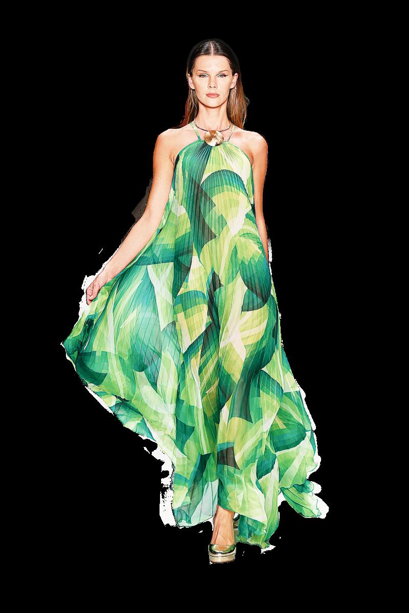 印有各種層次綠色的印花長裙,輕盈、飄逸,帶有春天的氣息。