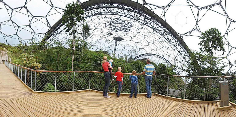 在雨林生態園遊客可領略到全球四大熱帶雨林環境:熱帶島嶼、東南亞、西非和南美洲。(Eden Project)