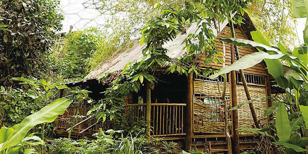 雨林生態園內具有熱帶風情的馬來西亞木屋。(Eden Project)