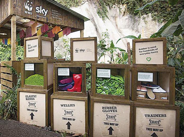 箱子裏面裝滿了如水鞋、膠皮手套等橡膠製品,介紹橡膠製品的由來。(Eden Project)