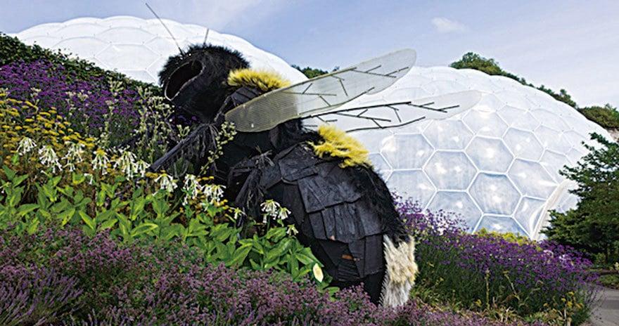 露天花園裏巨大的蜜蜂雕塑。(Eden Project)