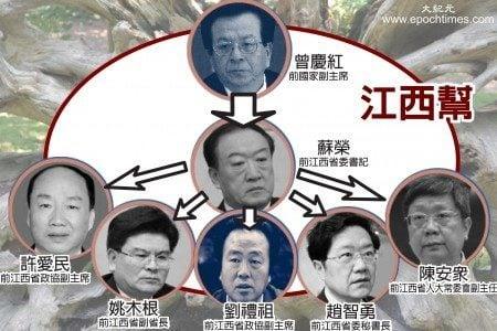 5名落馬的江西副省級官員被指與與蘇榮關係密切。(大紀元製圖)