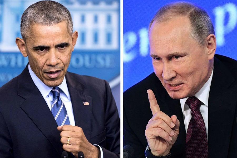 俄外交部發言人對白宮驅逐俄外交官等制裁決定作出回應,在臉書上措辭強烈地表示,奧巴馬的做法「損害白宮聲譽」。(SAUL LOEB,NATALIA KOLESNIKOVA/AFP/Getty Images)