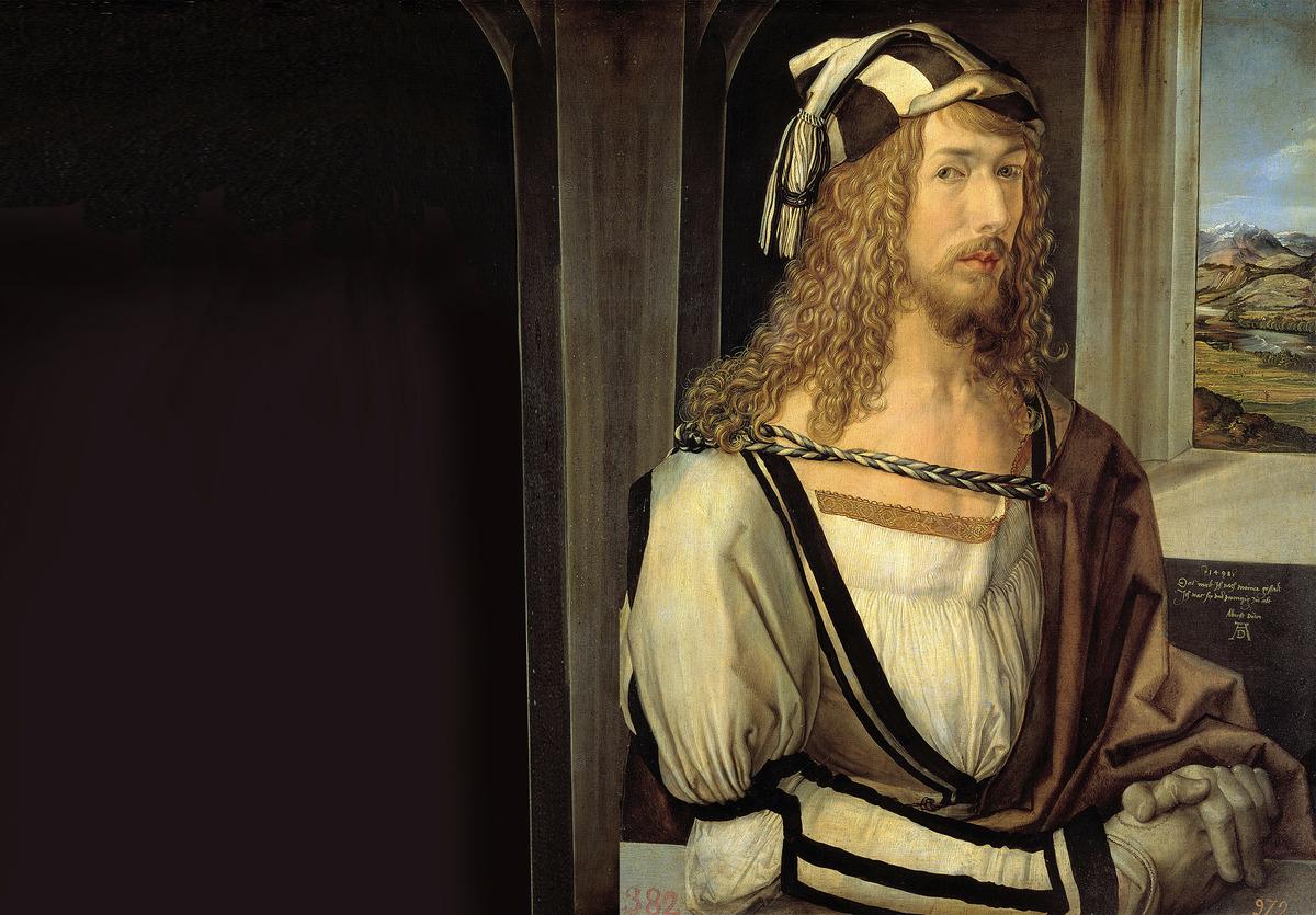 文藝復興時期著名的油畫家杜勒(Albrecht Durer)自畫像,作於1498年。(維基百科)