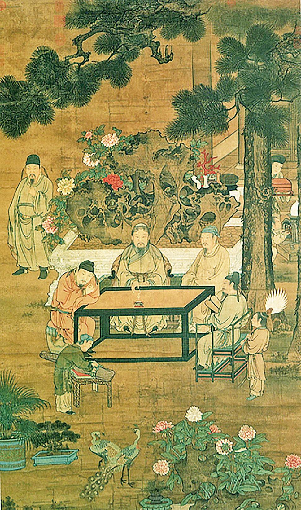 宋人《十八學士圖屏》(部分),絹本設色,匯北故宮博物院藏。(公有領域)