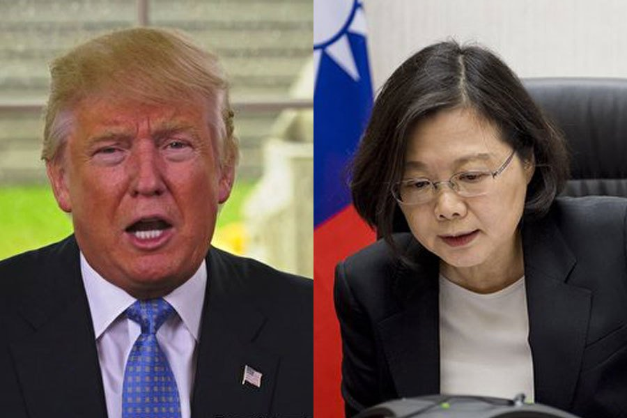 2016年12月2日,美國當選總統唐納德・特朗普和台灣總統蔡英文直接通電話。(Getty Images/大紀元合成圖)