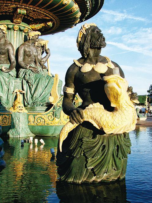 巴黎協和廣場上的噴泉的雕塑維妙維肖。(公共領域)