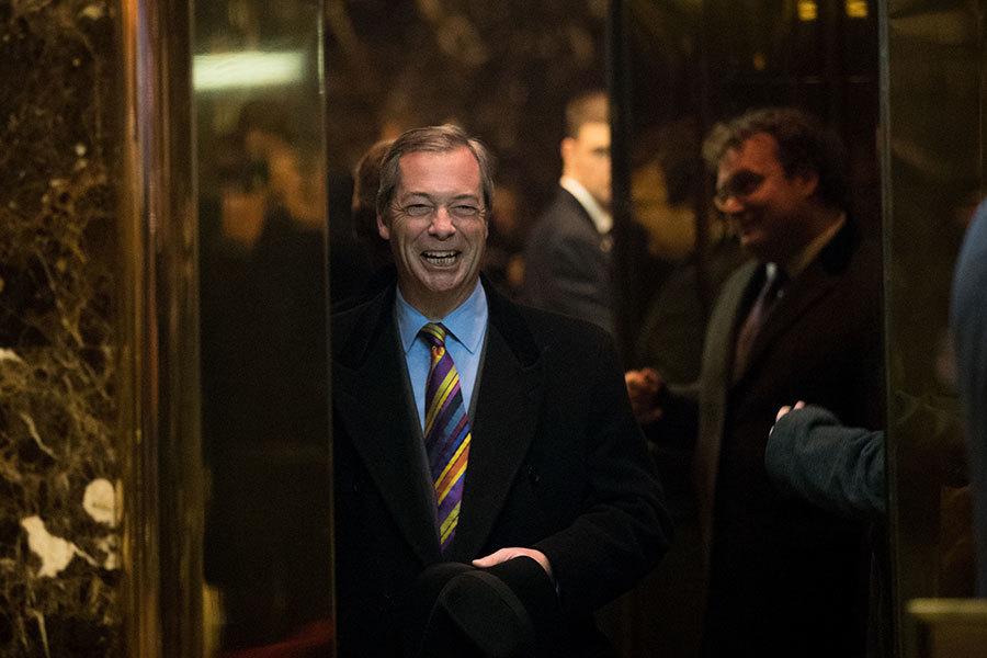 英國脫歐倡導者、獨立黨臨時領袖法拉奇(Nigel Farage)1月20日將會出席美國當選總統特朗普(川普)的就職典禮。(Drew Angerer/Getty Images)