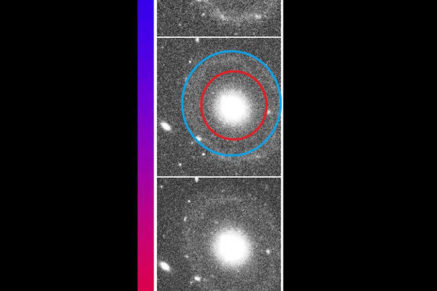 星系星系的雙環結構特點:內環(紅色)與外環(藍色)。(視像擷圖)
