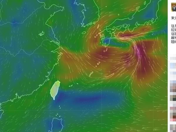 台灣中央氣象局預報中心主任鄭明典1月8日在臉書貼出早上8點的近地面氣流圖表示,增強的東北季候風已經到台灣。(鄭明典臉書)