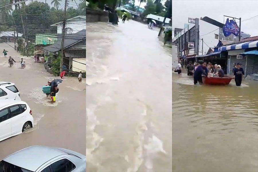 泰國30年來最大豪雨,造成南部地區洪水肆虐。(推特擷圖/twitter.com/niskasenjani)