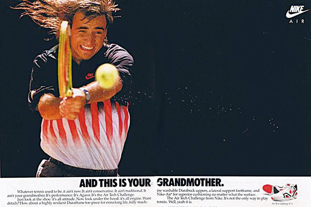 Nike找網球名將阿加西代言。有了這些大牌體育明星做活廣告,Nike運動鞋已不再僅僅是運動鞋,而成了偶像和社會地位的象徵。(網絡圖片)