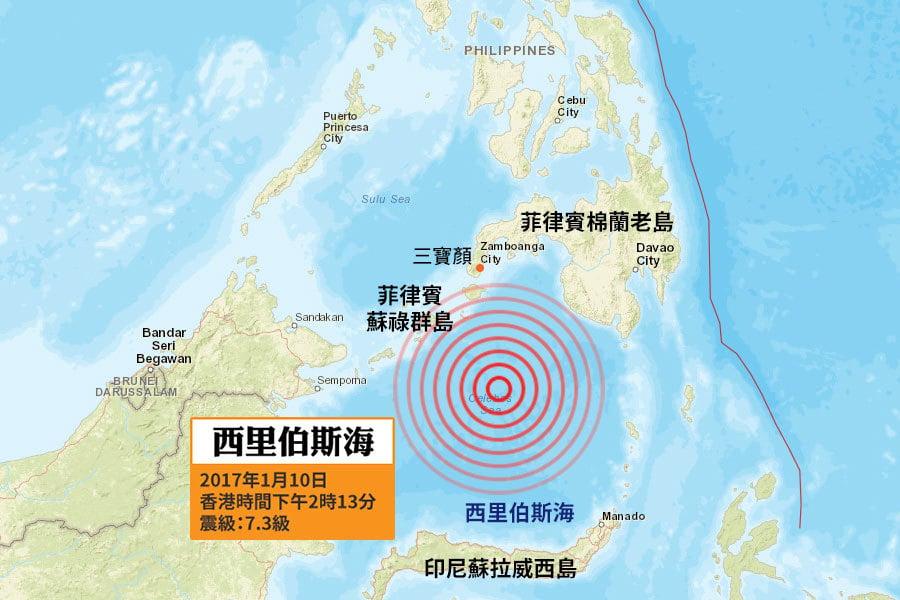 美國地質調查局(USGS)在本港時間今日下午2時13分(當地時間沒有時差),錄得一次黎克特制7.3級強震(最初錄得震級為6.9級,隨後向上修正為7.3級),震央位於菲律賓棉蘭老島(Mindanao)與印尼蘇拉威西島(Celebes)之間的西里伯斯海(Celebes Sea),即棉蘭老島三寶顏(Zamboanga)東南偏南280公里處海域,震源深度為612.7公里,屬深層地震。(地圖:美國地質調查局)