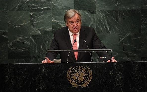 聯合國秘書長古特雷斯。(JEWEL SAMAD/AFP/Getty Images)