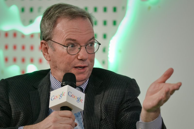 谷歌總裁埃里克・施密特(Eric Schmidt)。(Philippe Lopez/AFP)
