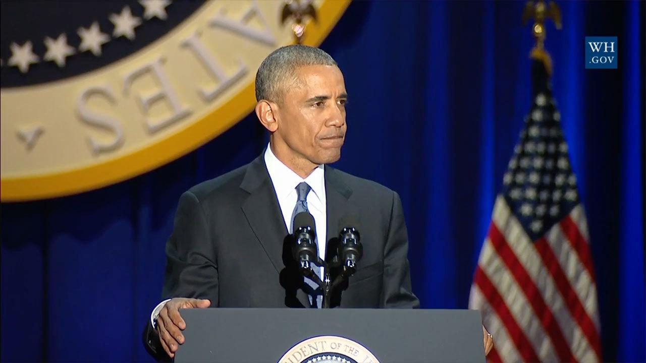美國總統奧巴馬今晚在芝加哥發表告別演說時,淚眼感謝妻子扮演稱職第一夫人的角色。奧巴馬也將未來描述成世代的挑戰。(視像擷圖)
