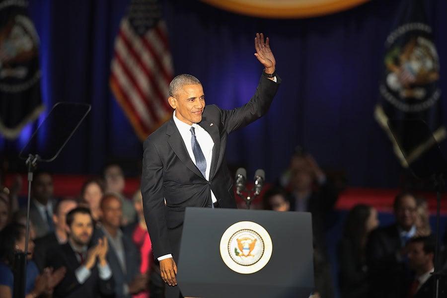 2017年1月10日晚上8點,奧巴馬總統在芝加哥發表告別演說,為八年的總統任期畫上句號。(Scott Olson/Getty Images)
