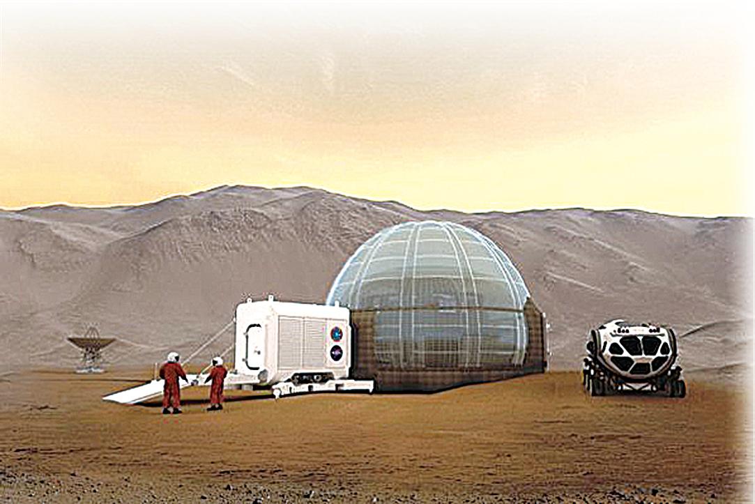火星冰屋概念圖。(NASA Langley/Clouds AO/SEArch)