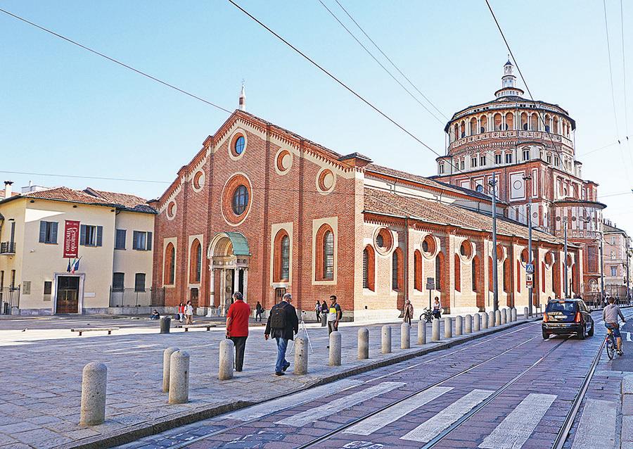 聖瑪麗亞感恩教堂是米蘭唯一世界遺產,在其內部牆上保有達文西創作的巨畫《最後的晚餐》。(野上浩史/大紀元)