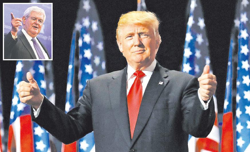 金里奇(左上)解釋了特朗普與眾不同的原因和他掀起的特朗普運動的意義。(Getty Images)