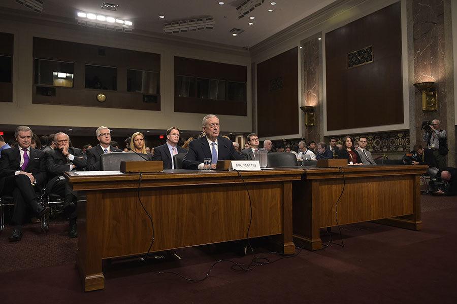 準國防部長退休上將馬蒂斯接受質詢。(MANDEL NGAN/AFP/Getty Images)