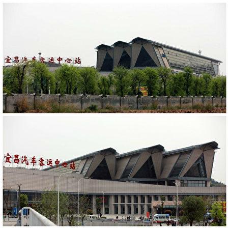 宜昌市宜昌汽車客運中心站群樓造型因為形似三座棺材而被過往旅客和司機吐槽。(網絡圖片)