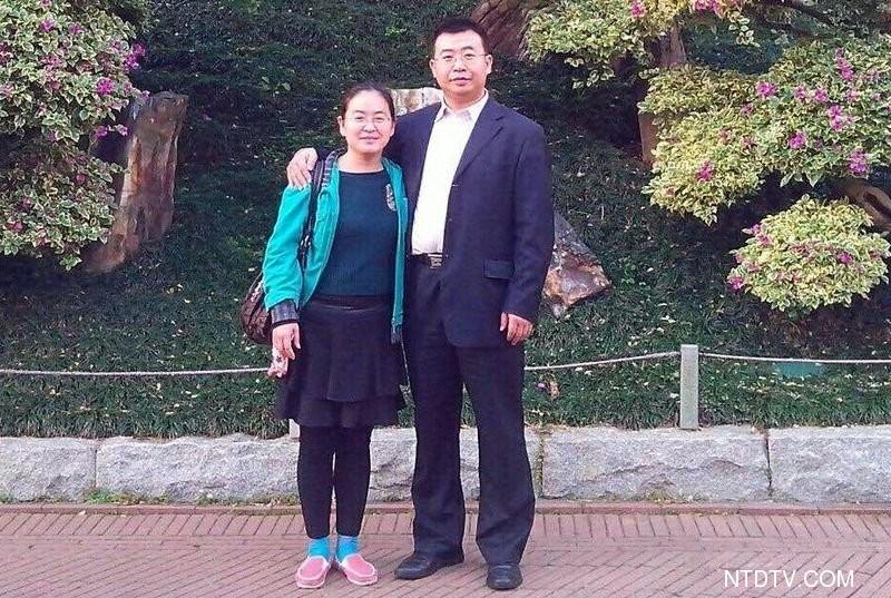 江天勇律師的妻子金變玲表示,害怕律師看《709 人們》,可見中共的恐慌。圖為江天勇與金變玲的合影。(新唐人)