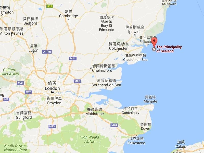西蘭公國原是第二次世界大戰時期的海上堡壘,位於英國東安格利亞(East Anglia)外海6英哩。(Google地圖)