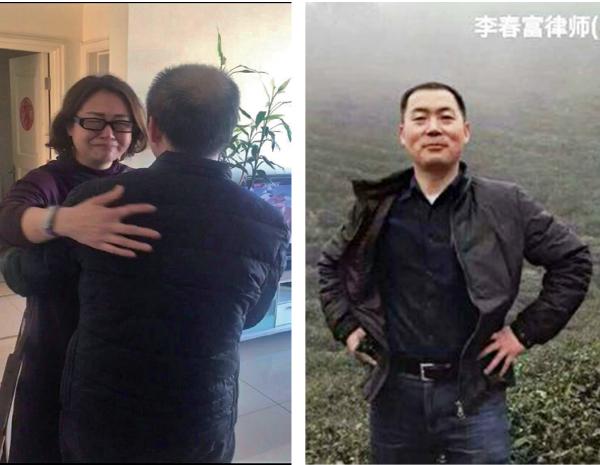 (左)李和平妻子看到自己丈夫的弟弟李春富被迫害後成現在這個樣子,痛苦的泣不成聲。(網絡圖片) (右)李春富被關押前相片,魁梧高大、帥氣。(網絡圖片)