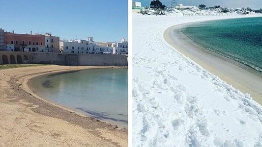 意大利南部薩蘭托島下雪前後對比。(網絡)