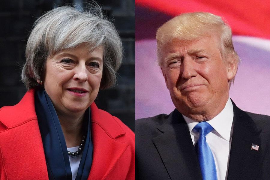 1月16日,英國的脫歐派得到了最大的一支強心劑。美國當選總統特朗普(川普)表示,他會優先跟英國進行貿易談判,讓英國脫歐變成一件「非常了不起的事情」。他還會在上任後立即邀請英國首相訪美。(BEN STANSALL/AFP/Getty Images、Chip Somodevilla/Getty Images)