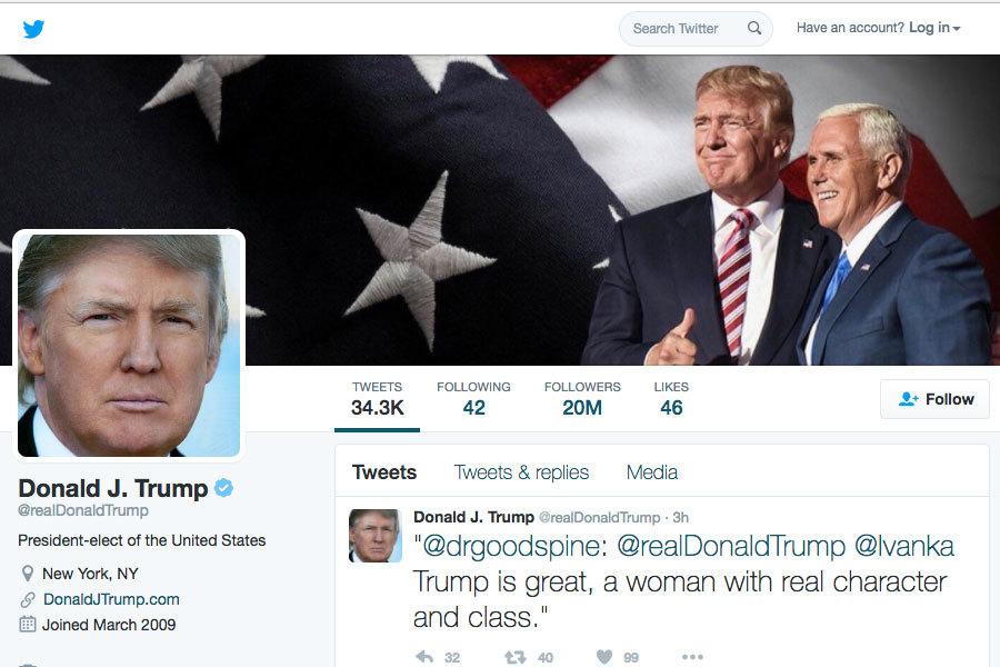 特朗普的推特粉絲已超過2,000萬人的門檻,已成為名副其實的「推特總統」。(網絡擷圖)