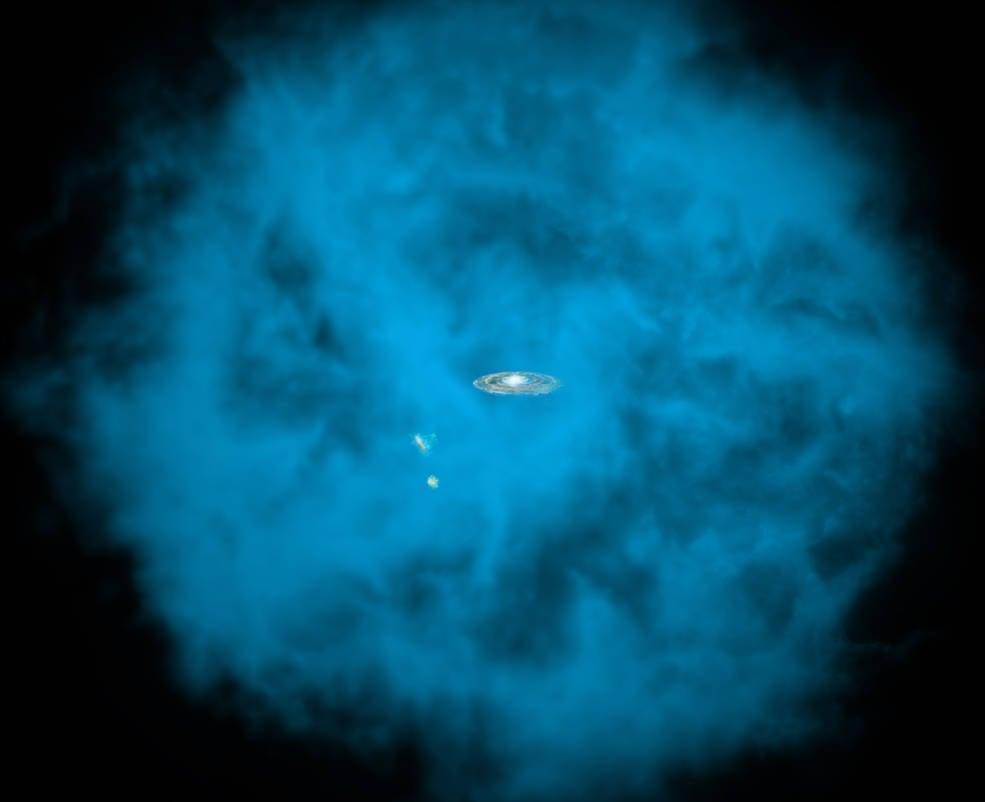 藍色為銀河系周圍的氣體暈,圖中心為銀河系。(NASA/CXC/M.Weiss/Ohio State/A Gupta et al)