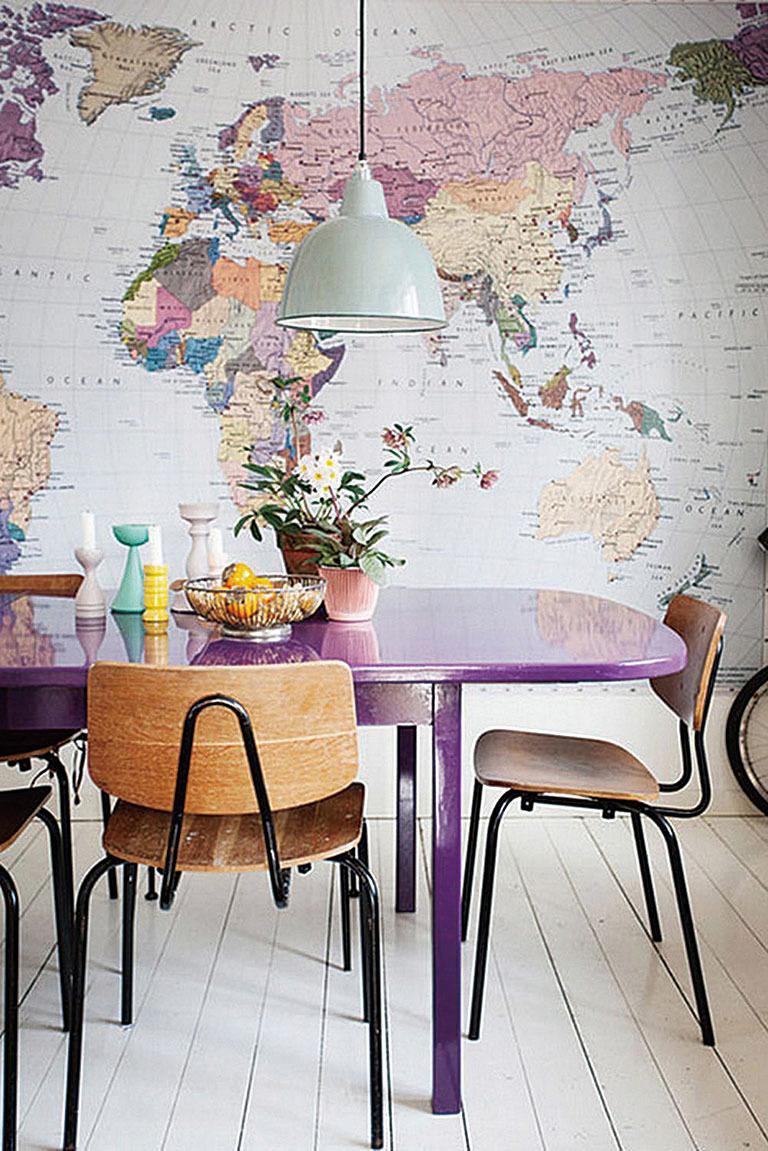 世界地圖牆紙為家居增添趣味。(網絡圖片)