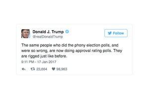 美數十年民調最低準總統 特朗普反譏假的