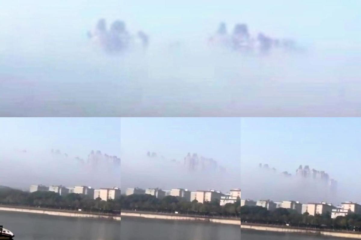 岳陽上空的海市蜃樓。(上圖為局部放大)(youtube視像擷圖組圖)