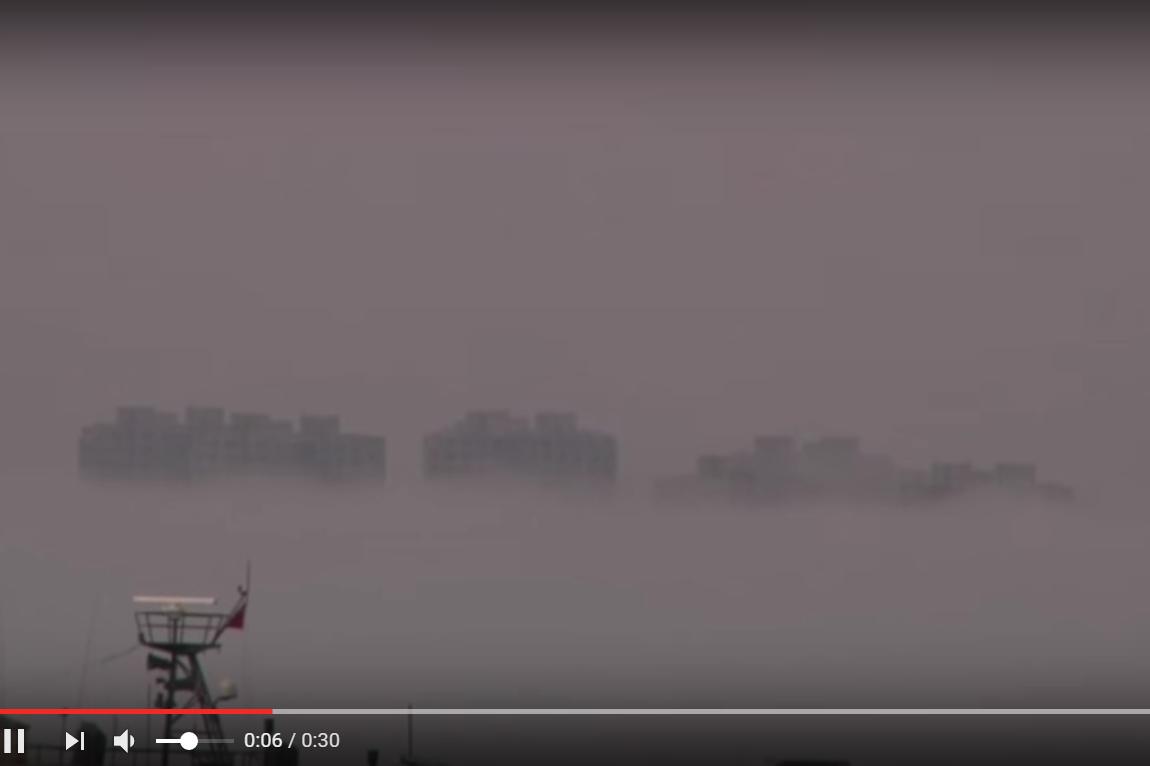2016年3月,中國大連出現的海市蜃樓。(Youtube視像擷圖)