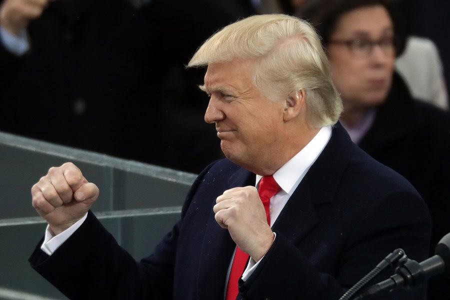 特朗普(川普)1月20日宣誓就職,成為美國第45任總統,標誌著特朗普時代的開始。(Chip Somodevilla/Getty Images)