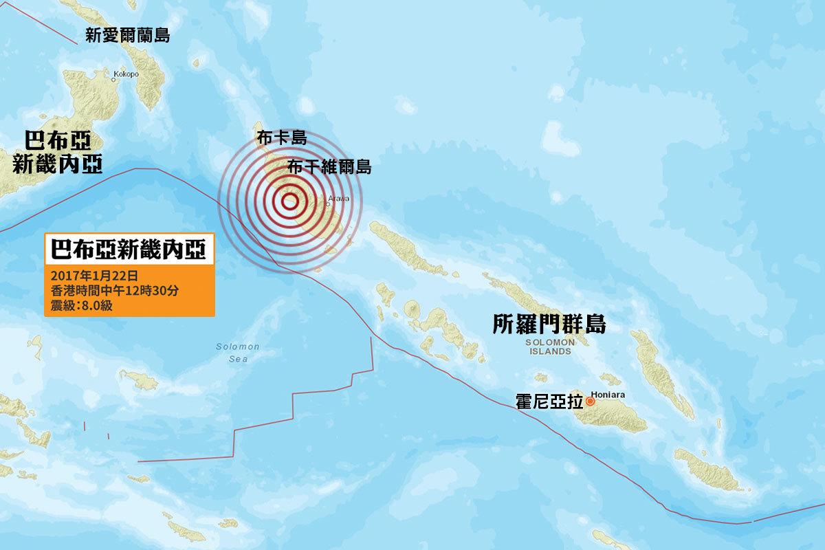 美國地質調查局(USGS)在本港時間今日(22日)中午12時30分,錄得一次黎克特制8.0級猛烈地震,震央位於巴布亞新畿內亞布干維爾島潘古納(Panguna)以西40公里處,震源深度為153.8公里,屬中層地震。太平洋海嘯警報中心表示鄰近地區或有可能在未來數小時內受到海嘯襲擊。(地圖:美國地質調查局)