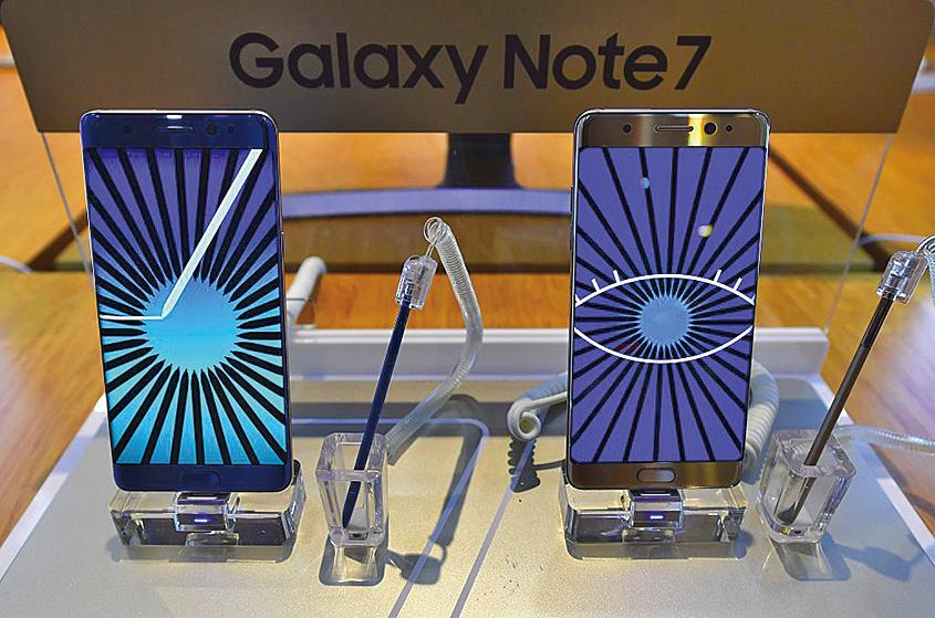 三星Galaxy Note7智能手機。(Getty Images)